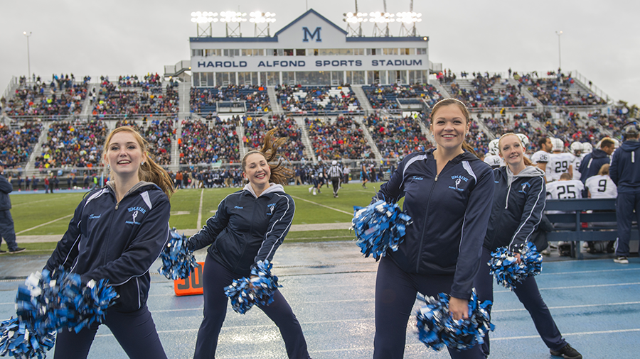 Maine student cheerleaders at a Black Bears game