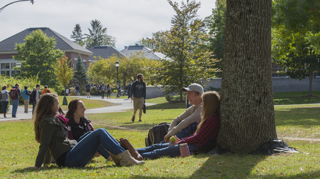 Image of students on Maine campus mall
