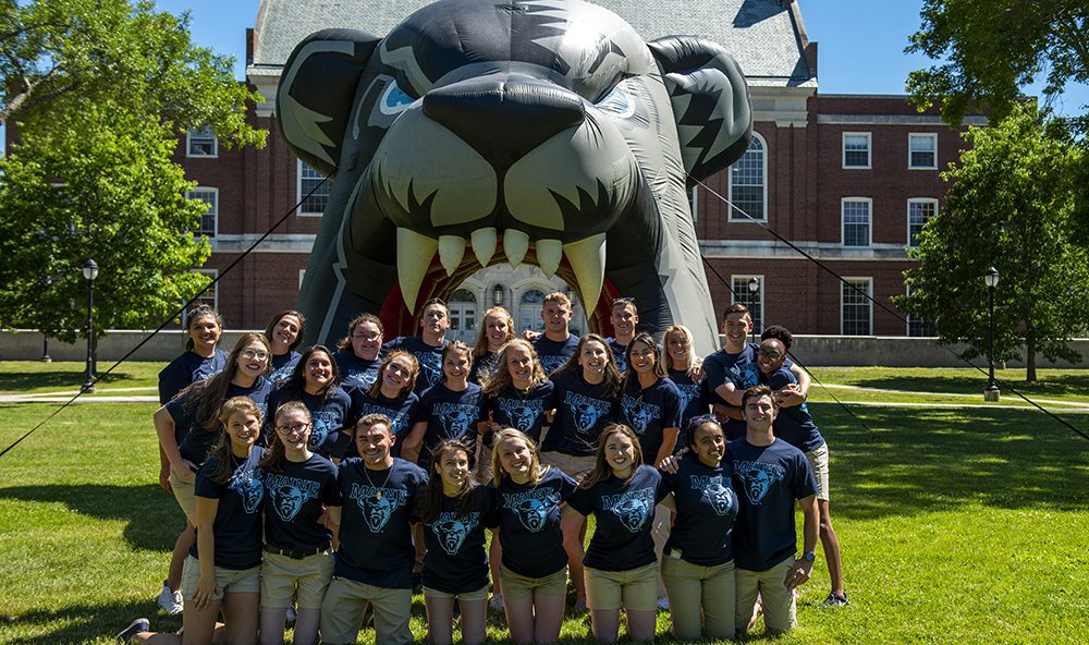 Students with bear archway