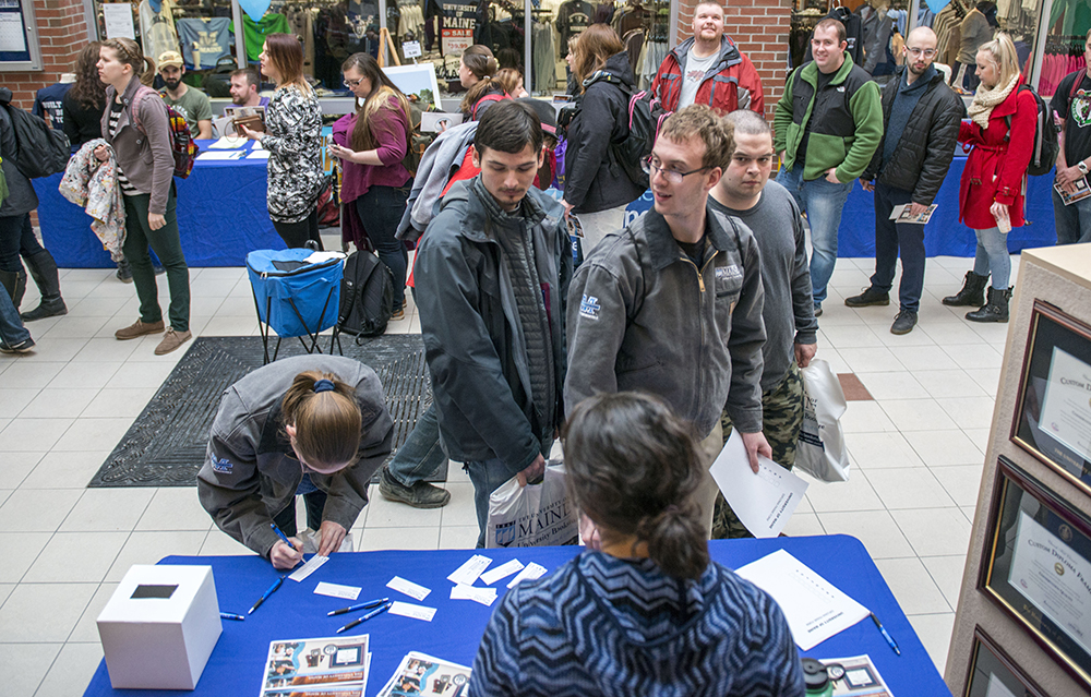 Students at info fair