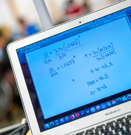 Computer screen showing a math problem