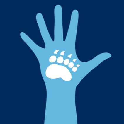 Raised hand with black bear paw logo