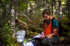 Student gathering data in the woods