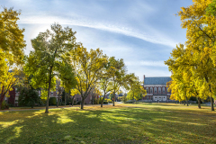Fogler Library frames one end of our Campus Mall